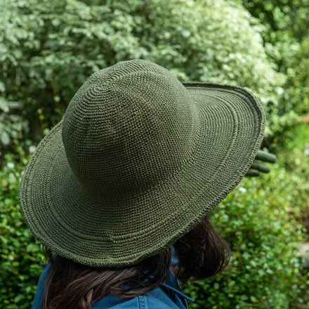Crochet cotton garden hat - khaki green