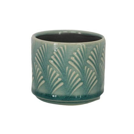 Blue Fan Wave Ceramic Mini Pot Cover