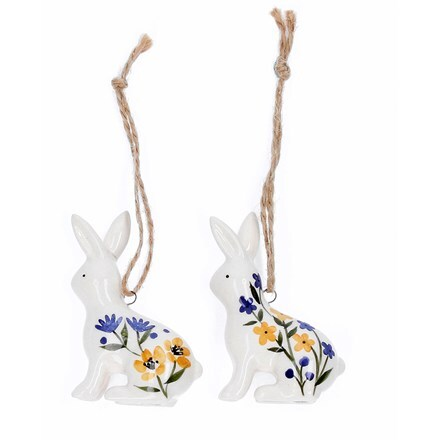 Ceramic country folk bunny decorations
