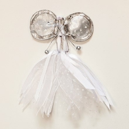 Small white/silver ribbon fairy
