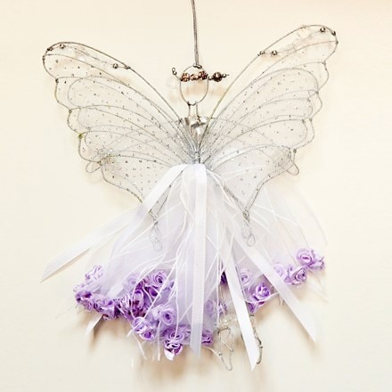 Double winged ribbon fairy - white/lilac