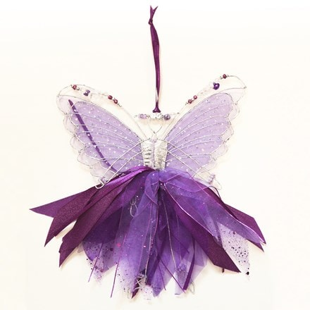 Double winged beaded ribbon fairy