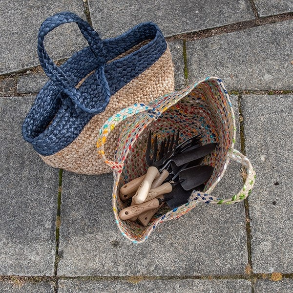Woven jute basket with indigo