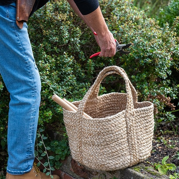 Woven jute log or tool basket