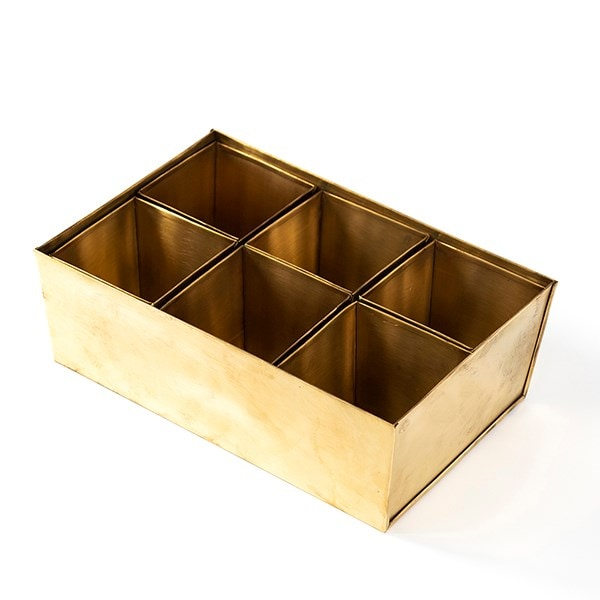 Brass tray with 6 grow pods