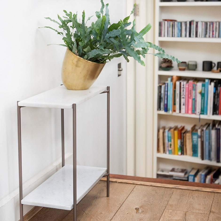 Marble side table with shelf and tilting pot cover