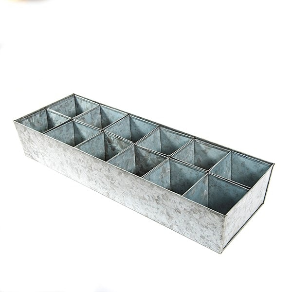 Galvanised tray with 12 large grow pods