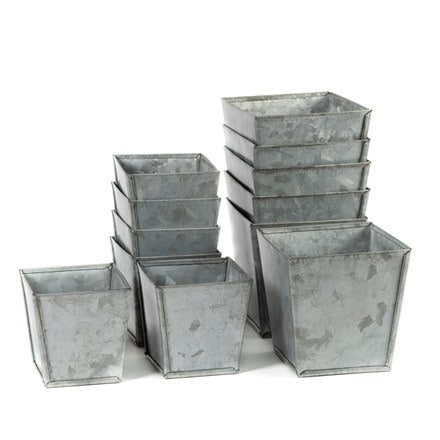 Set of 6 galvanised pots