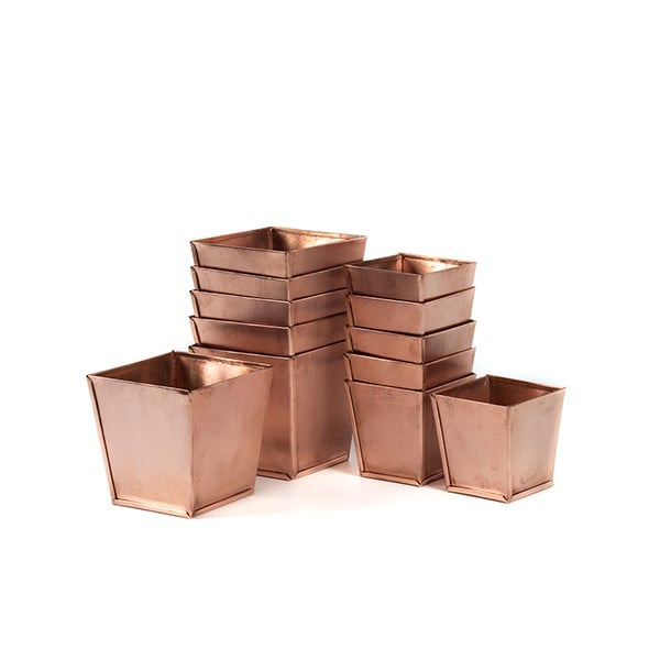 Set of 6 copper pots