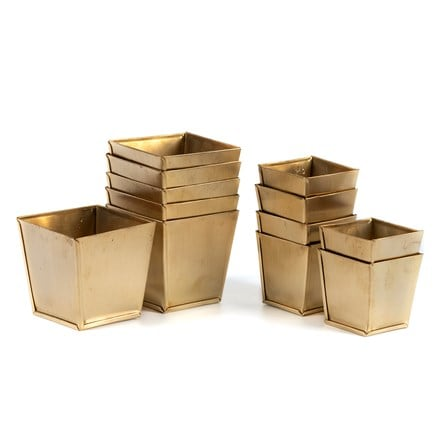 Set of 6 brass pots