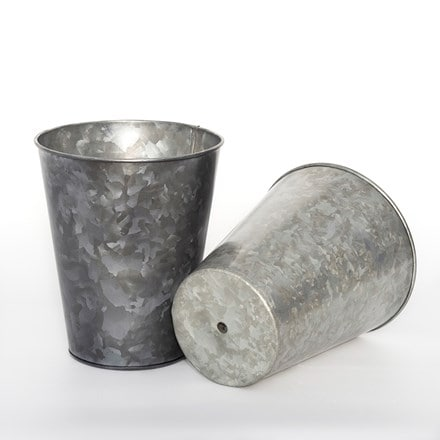 Dark galvanised long tom pot