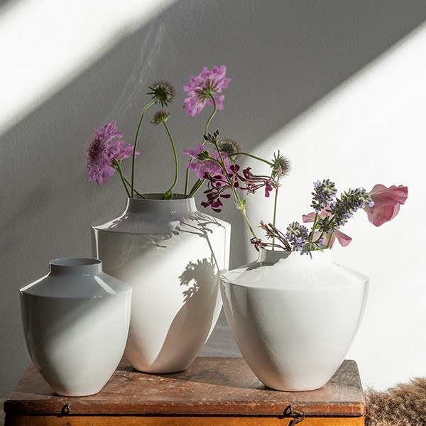 White stem vases