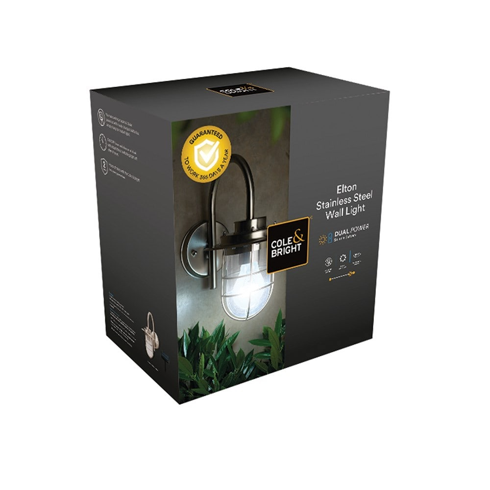 All year round solar elton stainless steel wall light