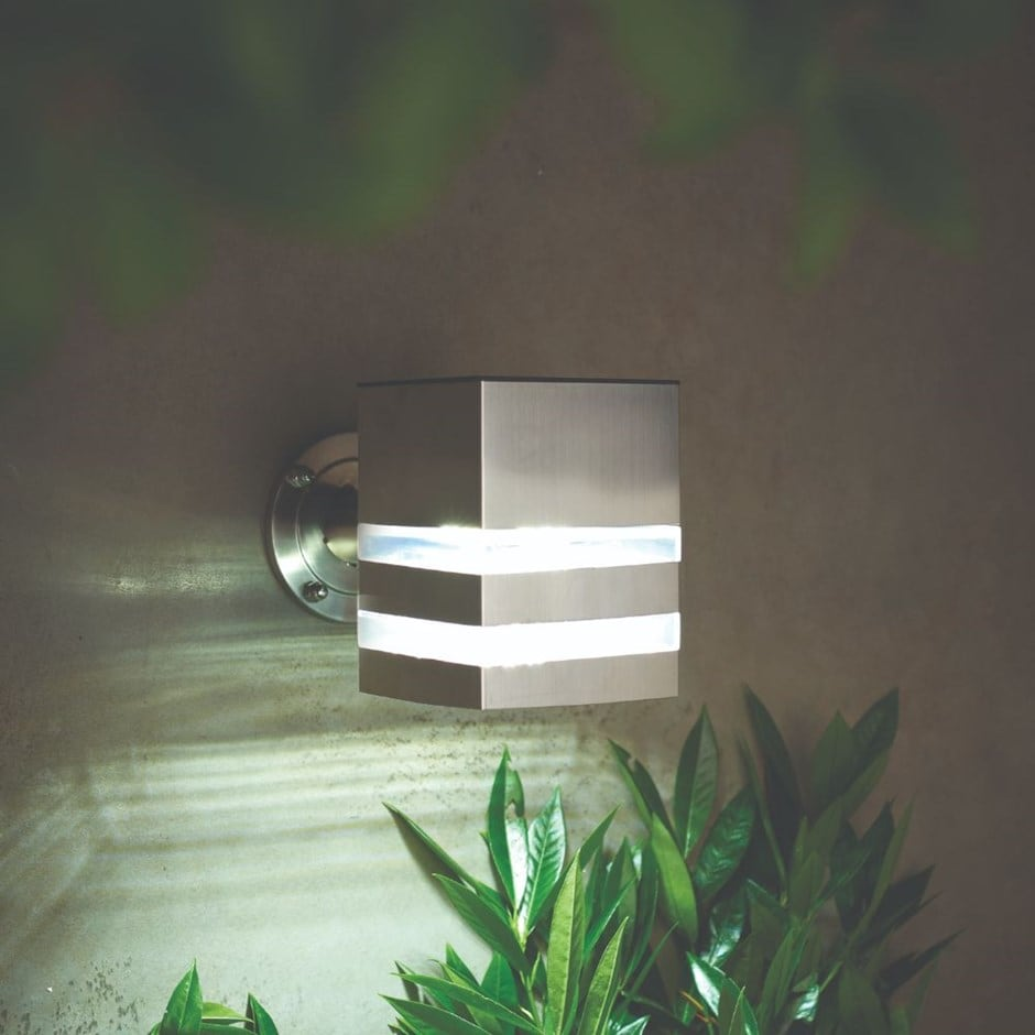 All year round solar nassington stainless steel wall light