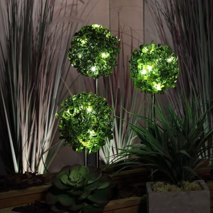 Solar topiary stake lights - set of three
