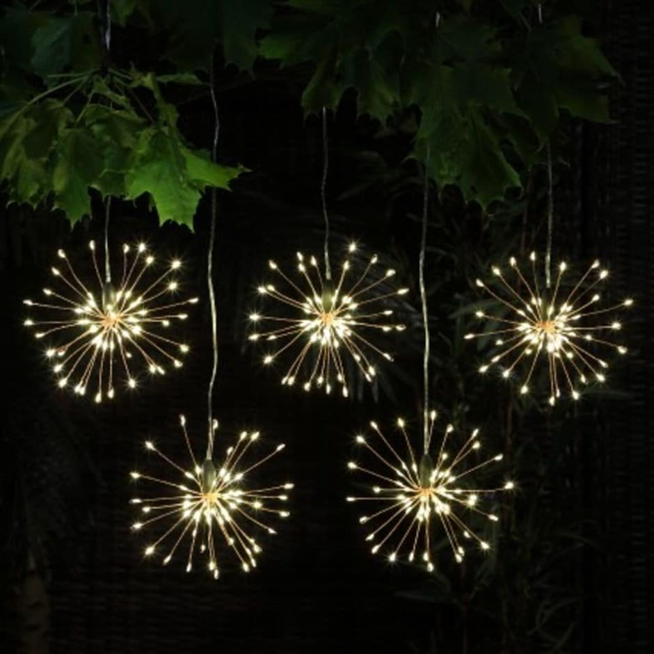 Hanging firework light chain - set of five