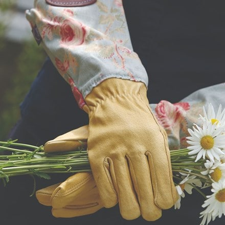 Floral linen and leather gardening gloves - two sizes