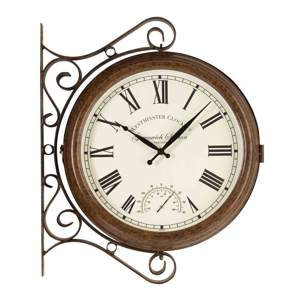 Double sided metal Greenwich station clock and thermometer