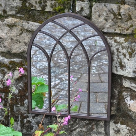Metal chapel outdoor mirror