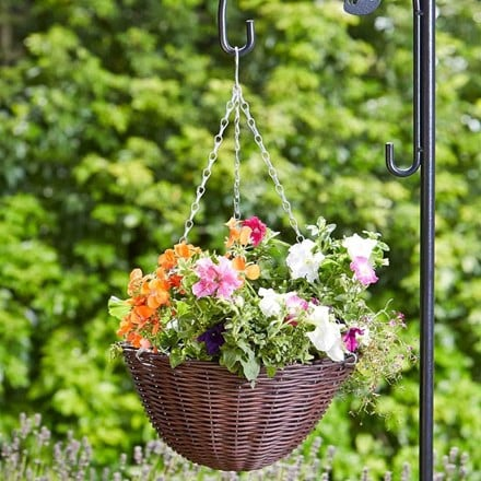 Chestnut faux rattan hanging basket