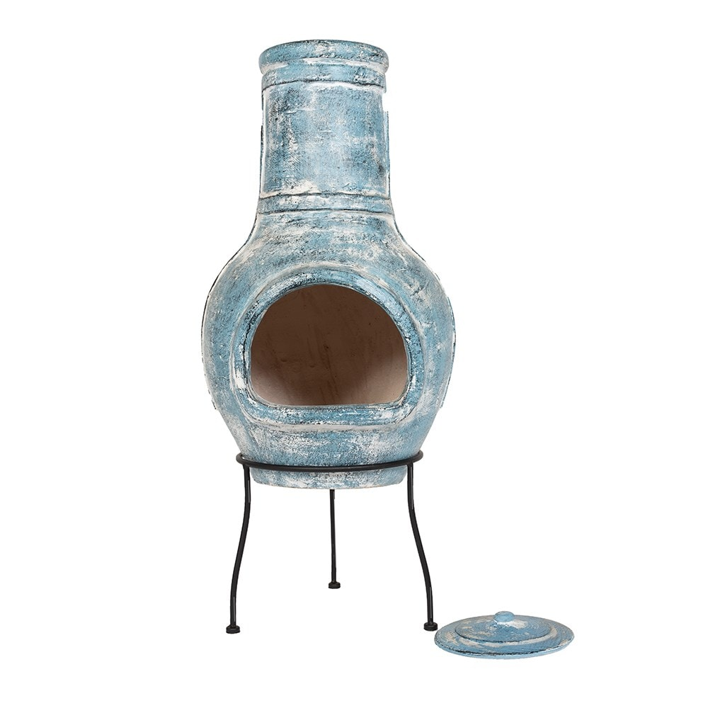 Clay chimenea banded - large