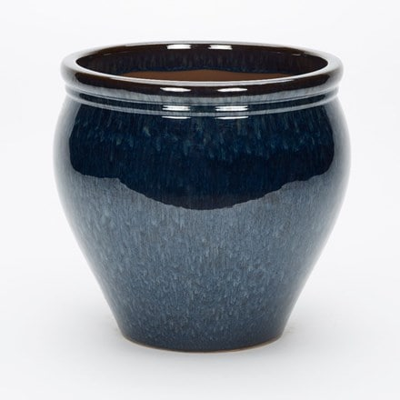 Peacock blue glazed jar