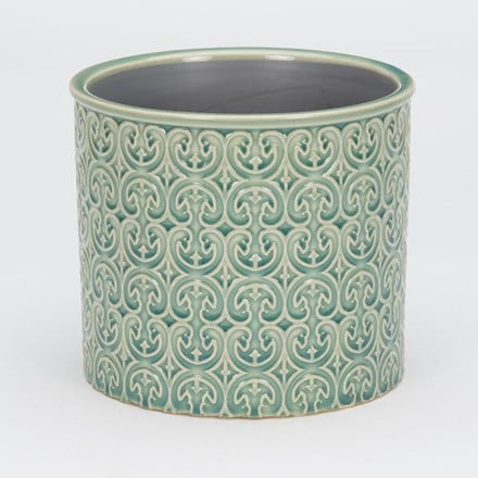 RHS interiors swans teal cylinder