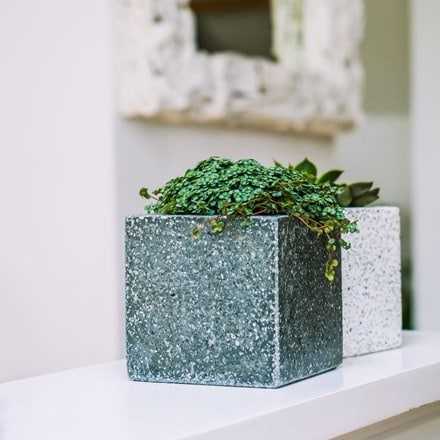 Grey terrazo cube planter