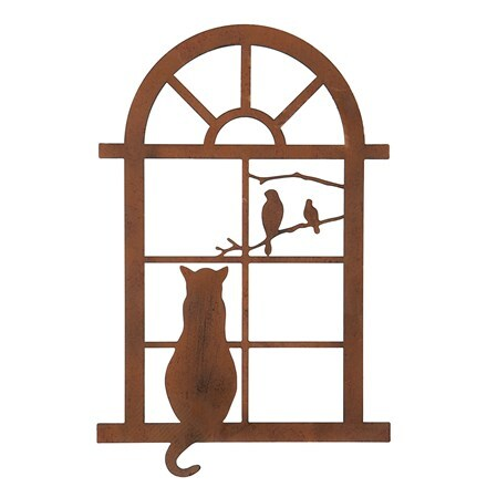 Cat in window plaque - small