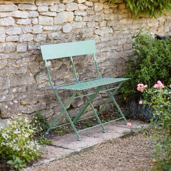 Folding steel bistro bench - greengage