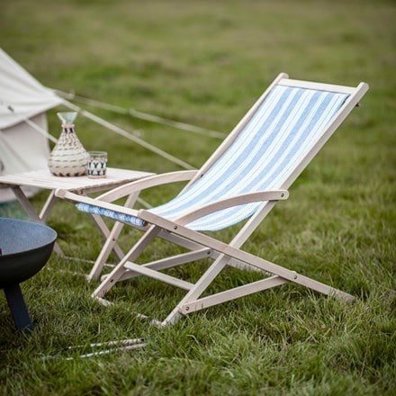 Rocking deck chair in cornflower blue stripe
