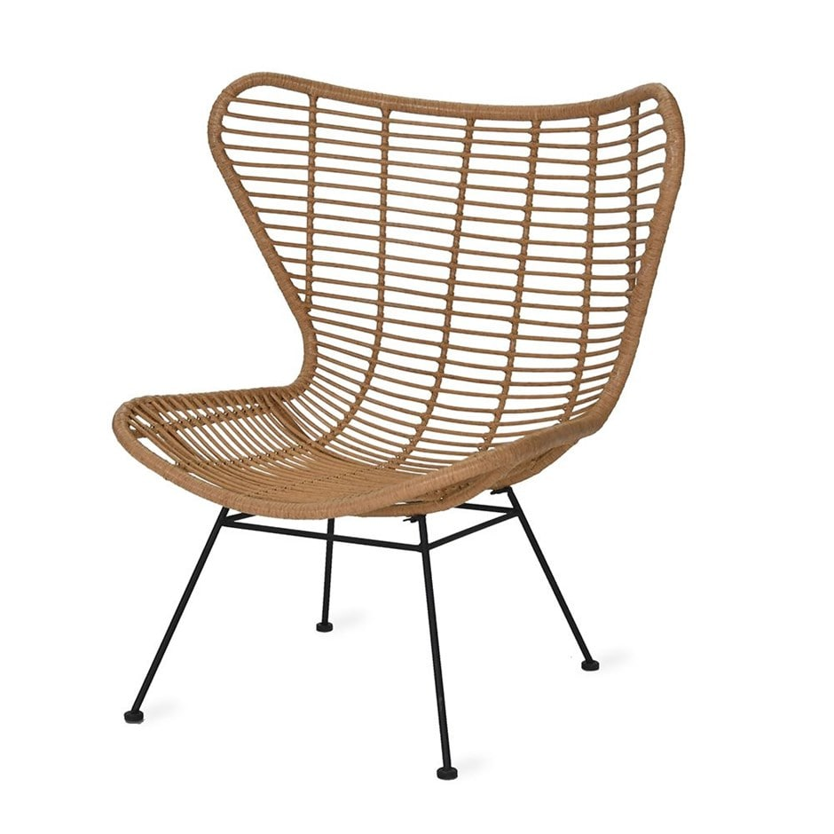 Hampstead winged armchair in natural - all-weather bamboo