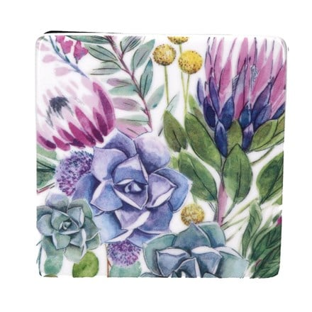 Desert blooms ceramic square coaster