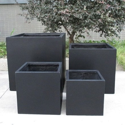 Square box contemporary black light concrete planter