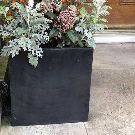 Square box contemporary faux lead light concrete planter