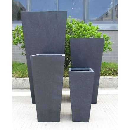Tall tapered contemporary faux lead light concrete planter