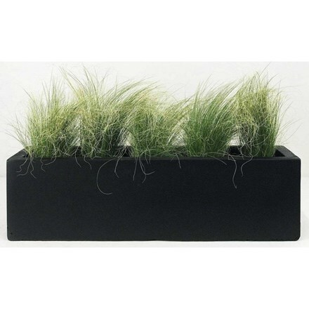 Window box light concrete dark grey planter