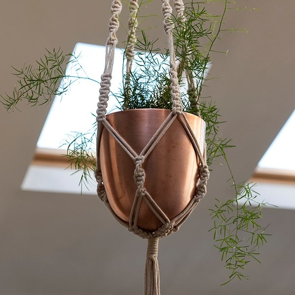 Macrame hanger with brushed copper pot