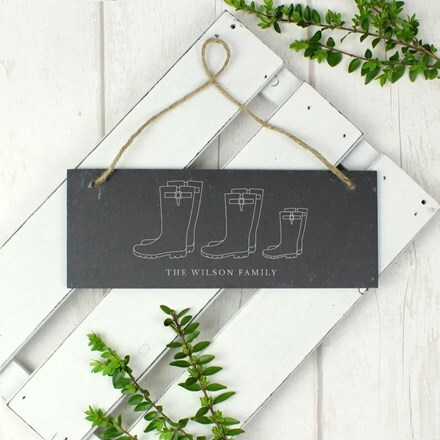 Personalised slate wellies sign