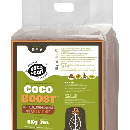 Expanding coco grow boost compost - 75 litres