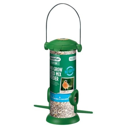 Filled no grow mix bird feeder