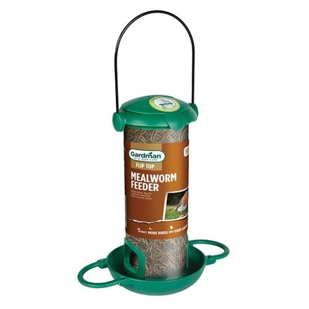 Filled mealworm bird feeder
