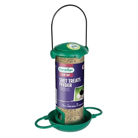 Filled suet treats bird feeder