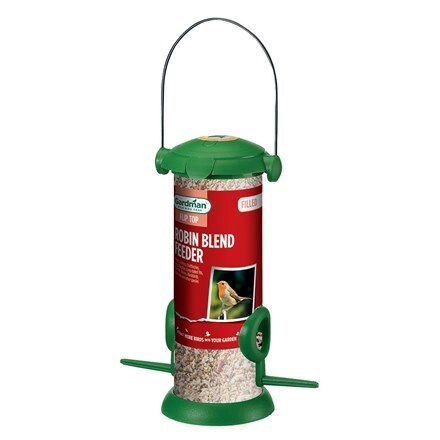 Filled robin blend bird feeder