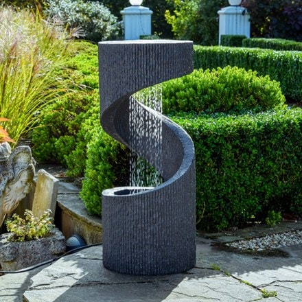 Cement outdoor spiral water feature