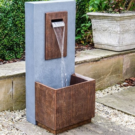 Outdoor contemporary rust water feature
