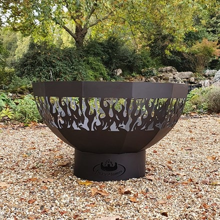 Round laser cut fire bowl