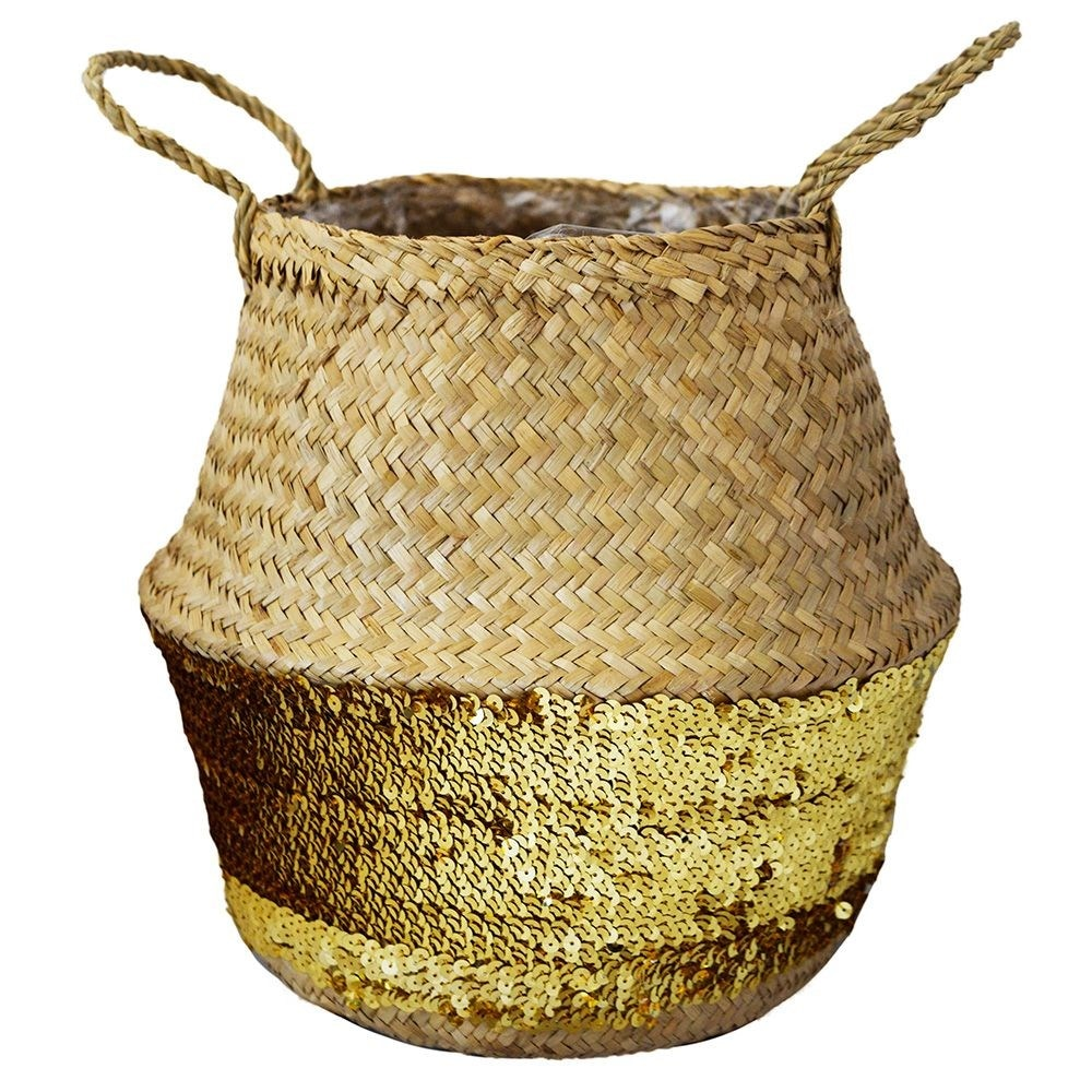 Seagrass gold sequin lined basket