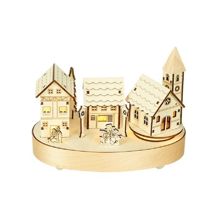Wooden light up houses with rotating church