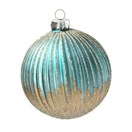 Turquoise and gold ribbed glass ball